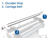 HP Designjet Encoder Strip and Carriage belt - diagram and schematic