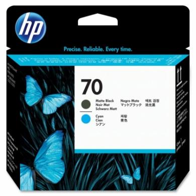 HP No. 70 Matte Black and Cyan Printhead