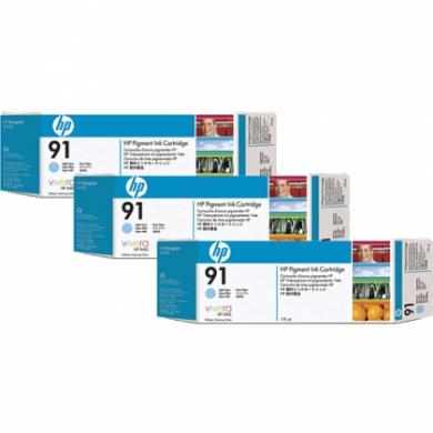 HP Designjet Triple Pack Light Cyan ink cartridge No. 91