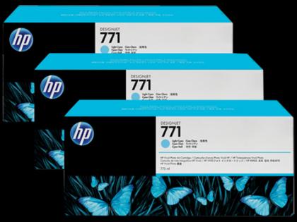 HP Designjet Triple Pack Light Cyan ink cartridge No. 771