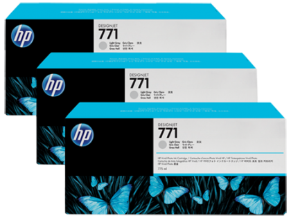 HP Designjet Triple Pack Light Grey ink cartridge No. 771