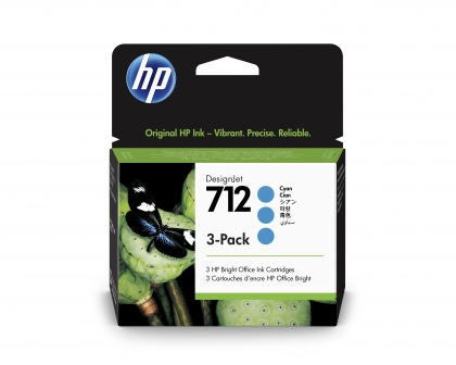 HP 712 DesignJet Cyan 3-Pack 29ml Ink Cartridge (3ED77A)