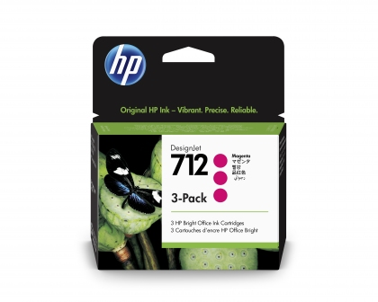 HP 712 DesignJet Magenta 3-Pack 29ml Ink Cartridge (3ED78A)