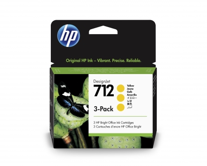 HP 712 DesignJet Yellow 3-Pack 29ml Ink Cartridge (3ED79A)