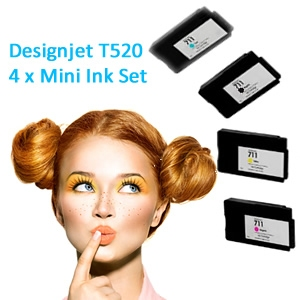 HP Designjet T520 full set of 4 x Mini Inks (T520MINI)