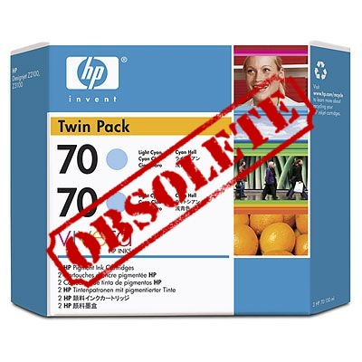 HP Designjet Twin Pack Light Cyan ink No.70