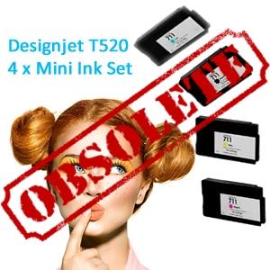 HP Designjet T520 full set of 4 x Mini Inks (T520MINI)