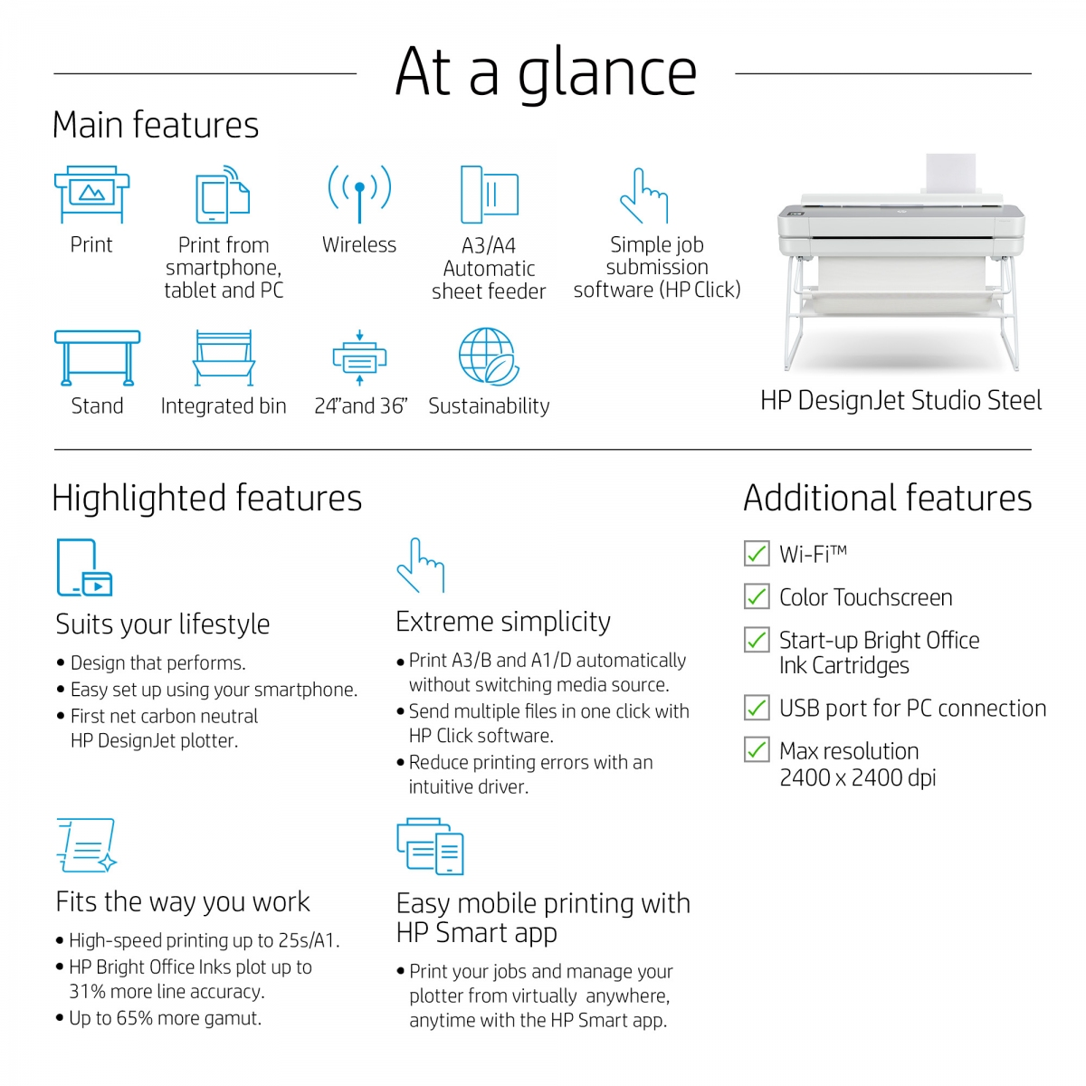 HP DesignJet Studio Steel 5HB12C 24-in Printer - Key points at a glance