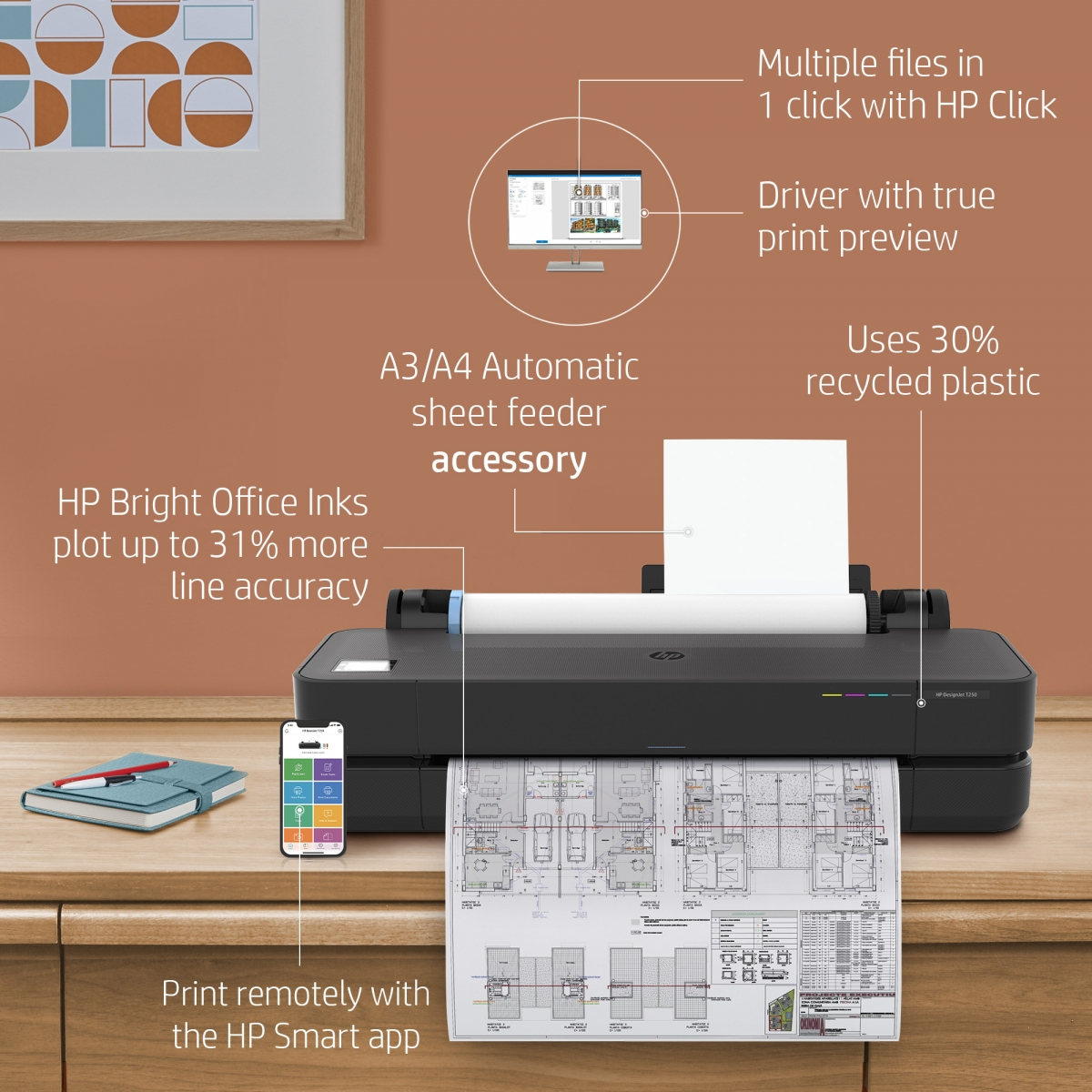 DesignJet T250 24-inch Printer 5HB06A - key hot points about your printer