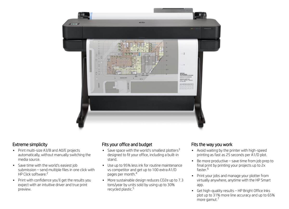 DesignJet T630 36-in printer 5HB11A - key points