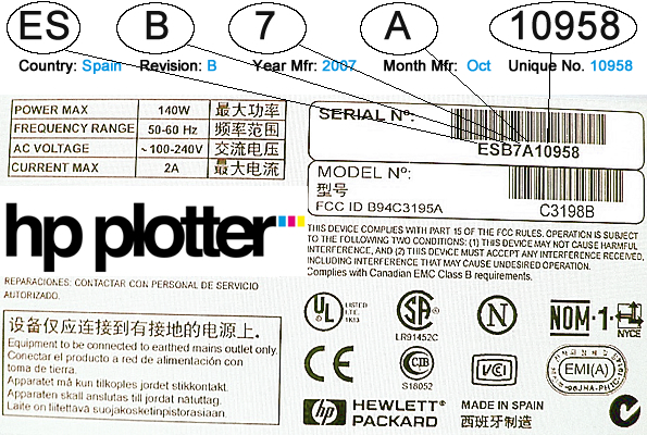 How to read a HP Designjet Serial Number